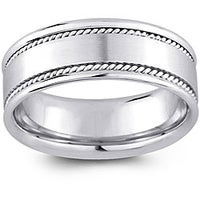 14k White Gold Men S Rope Detail Comfort Fit Wedding Band 8