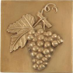 Grape Antique Brass 4-inch Accent Tiles (Set of 4)