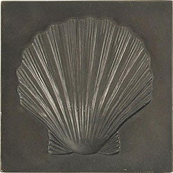 Set of 4 Dark Bronze Shell 4-inch Accent Tiles