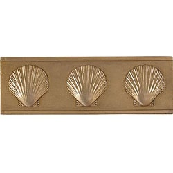 Shell Antique Brass Accent Tiles (Set of 4)
