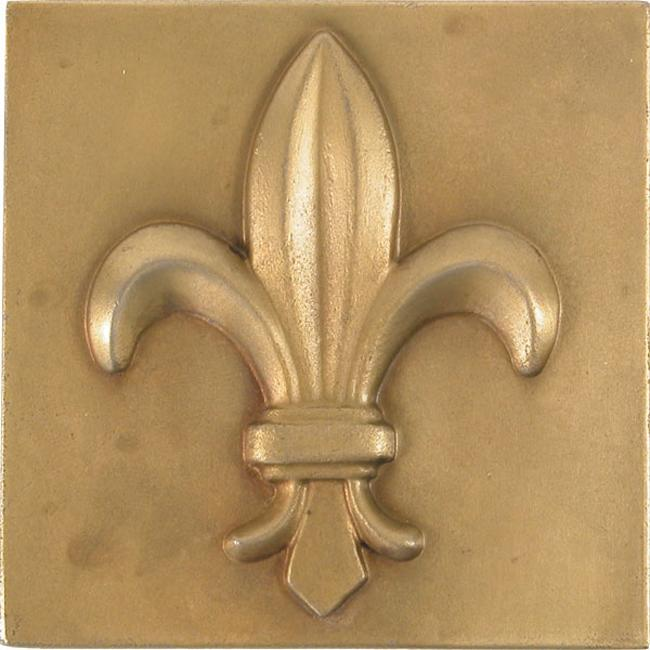 Fleur De Lis Antique Brass 4-inch Accent Tiles (Set of 4)