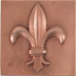 Fleur De Lis Red Copper 4-inch Accent Tiles (Set of 4) - Thumbnail 1