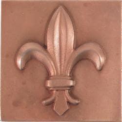 Fleur De Lis Red Copper 4-inch Accent Tiles (Set of 4)