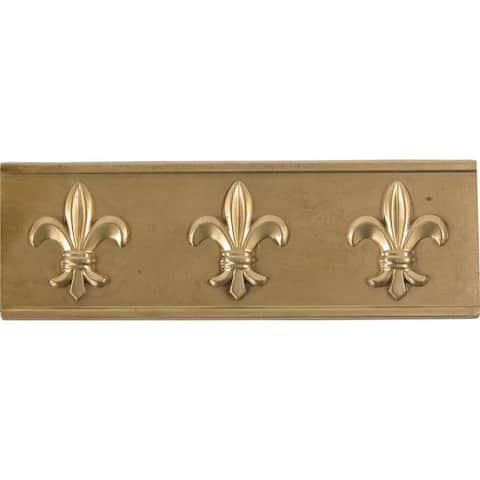 Fleur De Lis Antique Brass Accent Tiles (Set of 4)