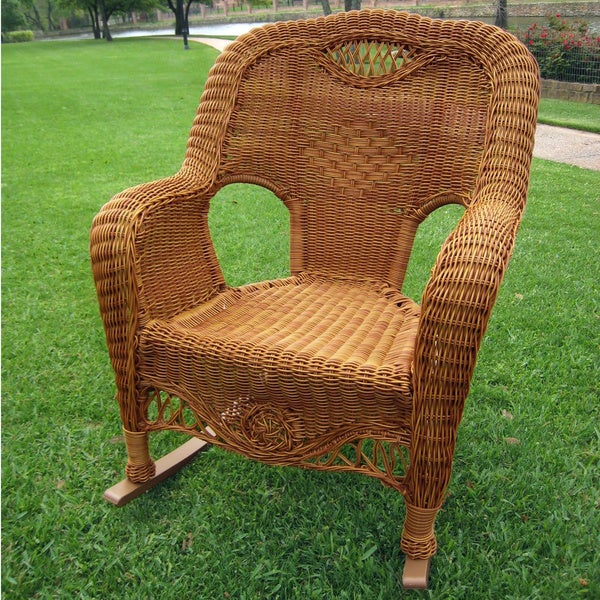 International Caravan Resin Wicker Indoor Outdoor Rocker