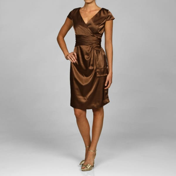 Evan Picone Women's Copper Stretch Satin Dress