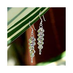 Sterling Silver 'Cascading Curls' Drop Earrings (Thailand)