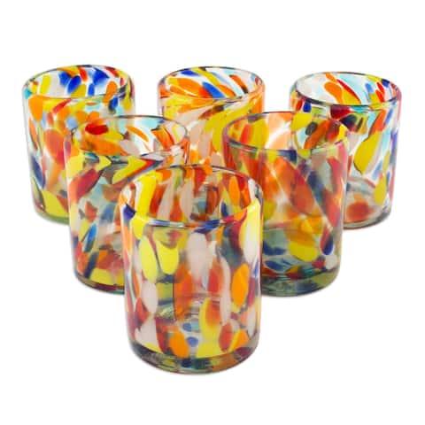 Handmade Set of 6 Glasses Liquid Confetti Multicolor Bright Tumblers (Mexico)