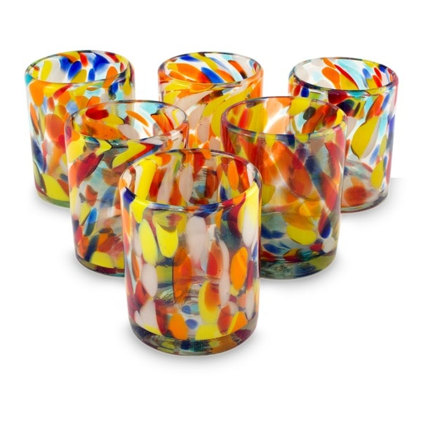 Hand Blown Set of 6 Glasses Liquid Confetti Multicolor Bright Tumblers (Mexico)