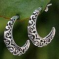 Handmade Sterling Silver 'Silver Lace' Half Hoop Earrings (Thailand)
