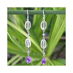 Handmade Sterling Silver 'Precious' Amethyst and Citrine Earrings (Thailand)