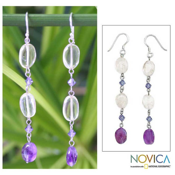 Sterling Silver 'Precious' Amethyst and Citrine Earrings (Thailand)