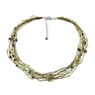 Handmade Pearl and Peridot 'River Of Green' Torsade Necklace (Thailand)