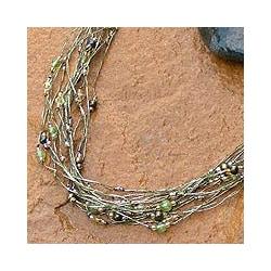 Pearl and Peridot 'River Of Green' Torsade Necklace (Thailand)