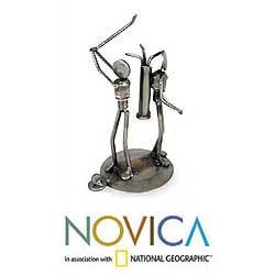 Handmade Iron 'Rustic Golfer' Sculpture (Mexico)