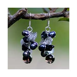 Handmade Pearl and Smokey Quartz 'Night Song' Cluster Earrings (Thailand)