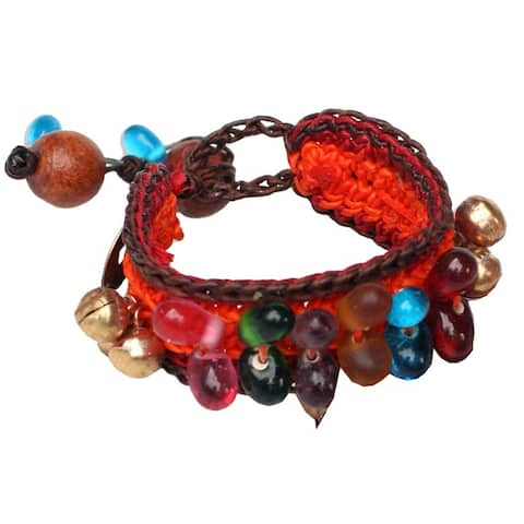 Bold Orange Fortune Multicolor Beads Brass Bells and Good Luck Coins on Pair of Womens Crocheted Wristband Bracelets (Thailand)