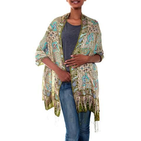 Handmade Silk 'Lavish Java' Batik Shawl (Indonesia)