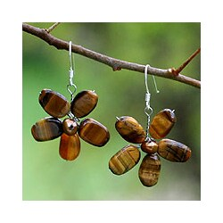 Handmade Pearl and Tiger's Eye 'Paradise' Flower Earrings (Thailand)
