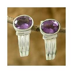 Handmade Amethyst 'Purple Flame' Earrings (India)