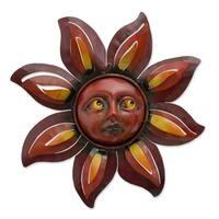 Handmade Iron 'Floral Sun' Wall Sculpture (Mexico)