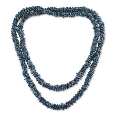Handmade Mermaid Song Lapis Lazuli Long Beaded Necklace (India)