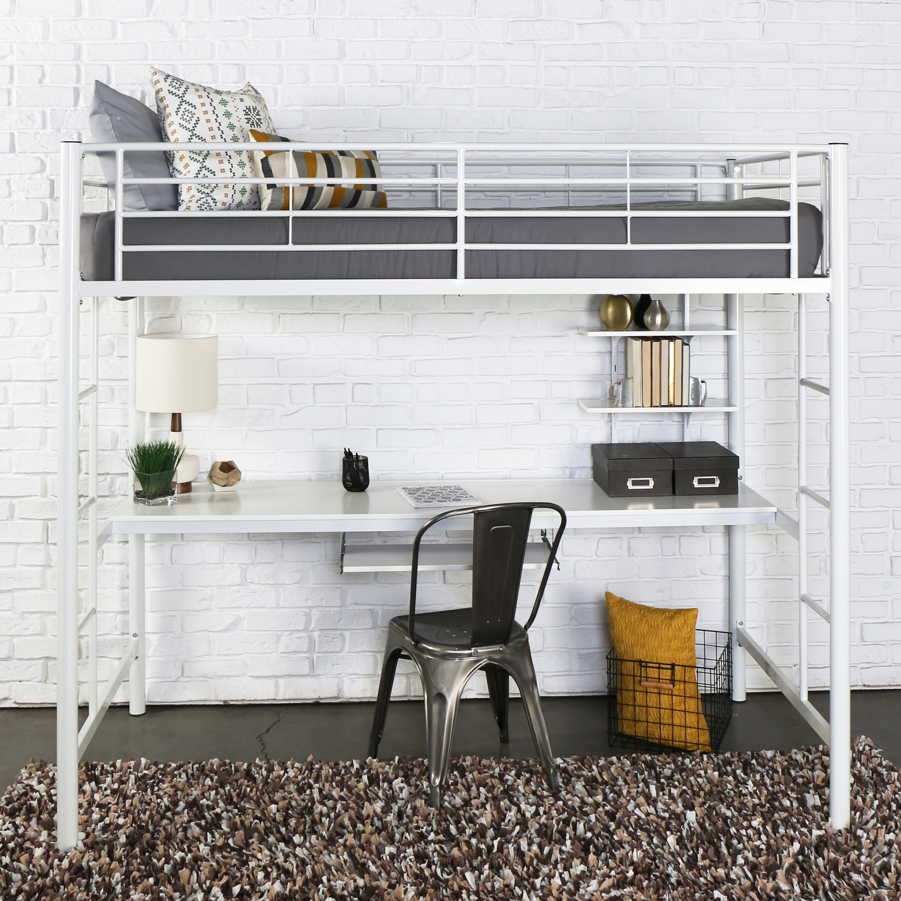 Walker Edison White Metal Twin Bunk Bed with Desk