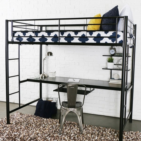 Shop Black Metal Twin Loft Bed With Desk On Sale Free Shipping