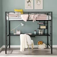 Black Metal Twin Loft Bed with Desk