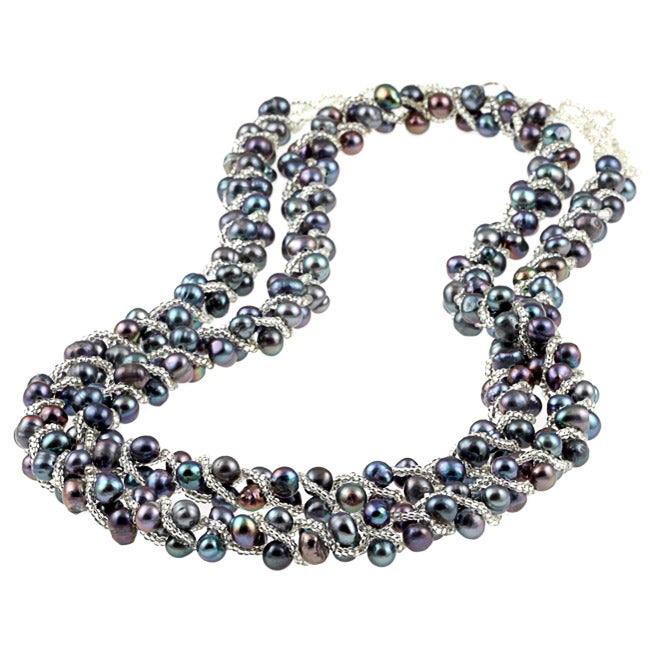 Sterling Silver 36-inch Grey Freshwater Pearl Twist Necklace (5-6 mm)