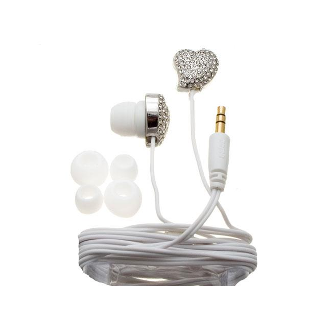 Nemo Digital White Crystal Pave Twisted Heart Earbud Headphones