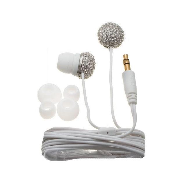 Nemo Digital Black/ White Crystal Flower Earbud Headphones (Case of 2)
