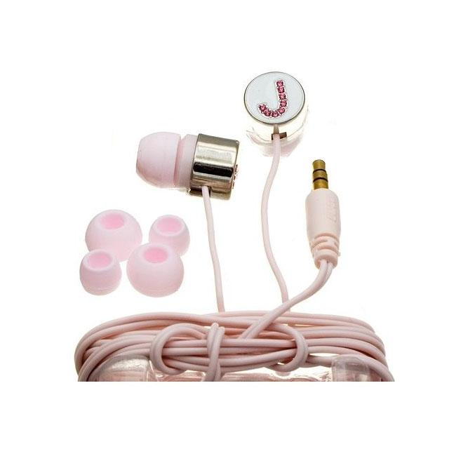 Nemo Digital Pink Crystal 'J' Earbud Headphones