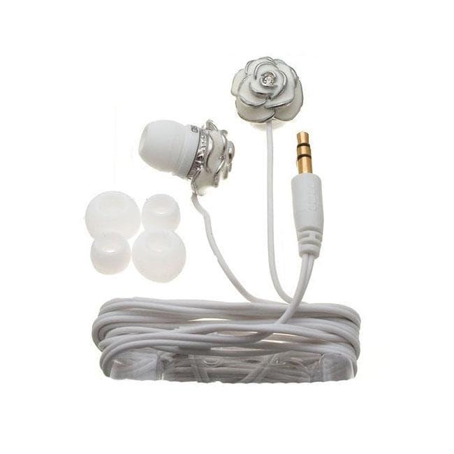 Nemo Digital White Enamel Flower Earbud Headphones