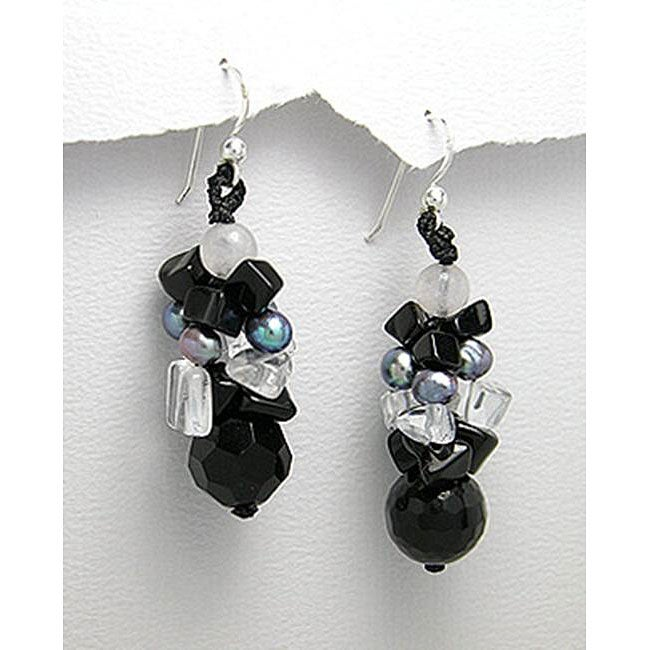 Cluster Black/ White Natural Stone Drop Earrings (Thailand)
