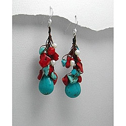 Handmade Drop Turquoise/ Coral Earrings (Thailand)