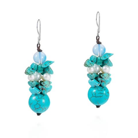 Handmade Cluster Turquoise/ Pearl Drop Earrings (Thailand)