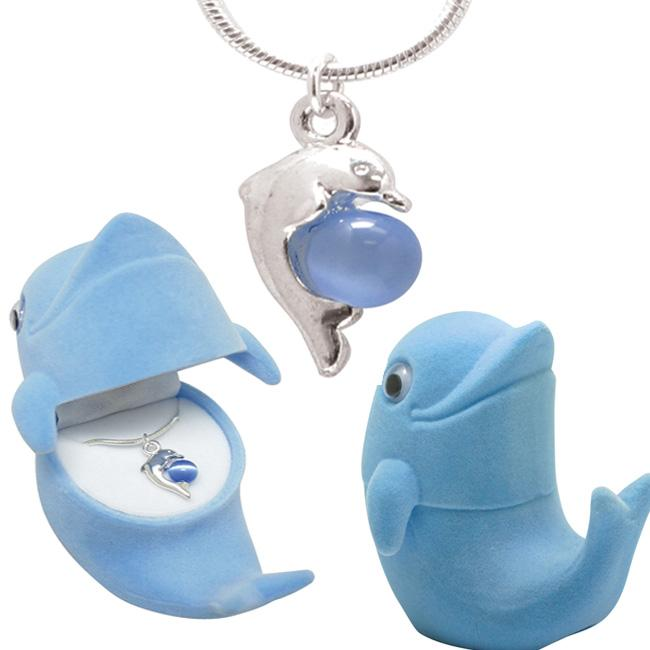 Silvertone and Enamel Created Cat's Eye Dolphin Necklace with Velour Box