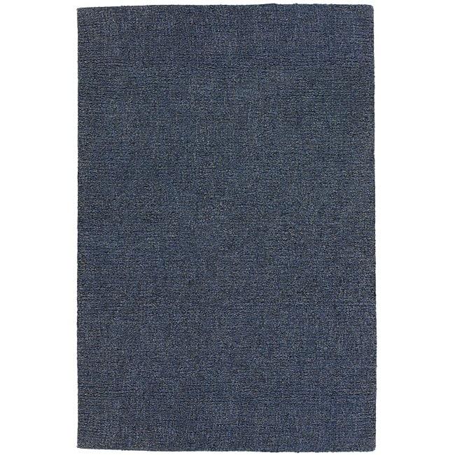 Hand-woven Blue Shag Wool Rug (8' x 10')