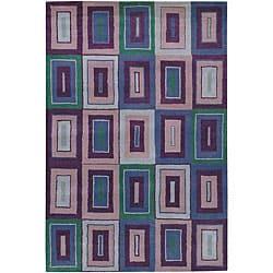 Artist's Loom Hand-tufted Contemporary Geometric Wool Rug (5'x7'6) - multi - Thumbnail 0