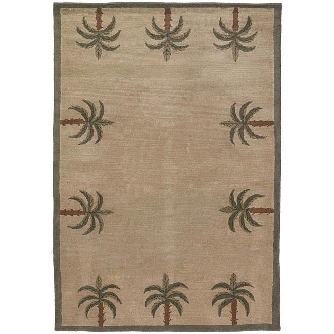Hand-tufted Mandara 'Palm Tree' Beige Wool Rug (2'6 x 7'6)