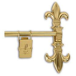 Polished Brass 36-inch Fleur De Lis Tapestry Hanger - Thumbnail 0