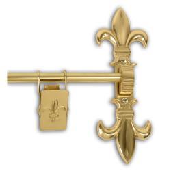 Polished Brass 48-inch Fleur De Lis Tapestry Hanger
