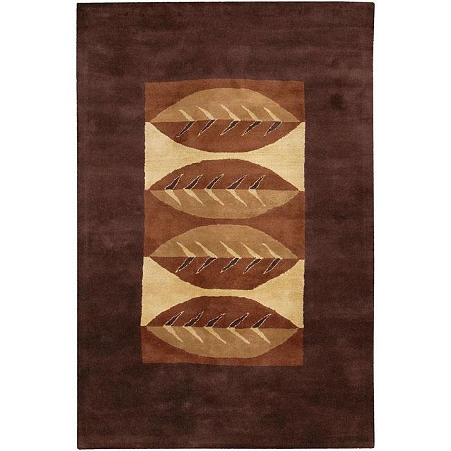Hand-tufted 'Mandara' Brown Wool Rug (9' x 13')