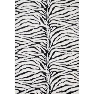 Jungle Zebra Print Shag Area Rug - 2' x 3'
