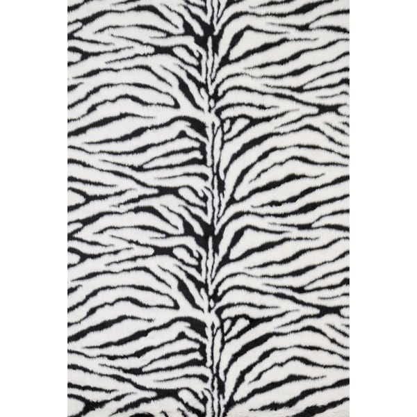 Jungle Zebra Print Shag Area Rug - 5' x 7'6