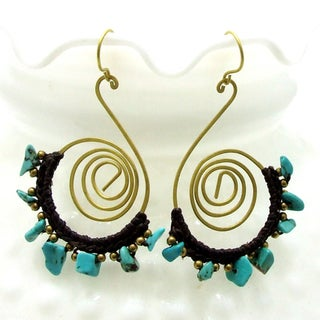 Handmade Sterling Silver Funky Swirl Turquoise Dangle Earrings (Thailand)