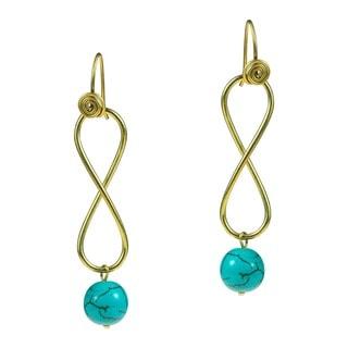 Handmade Infinity Brass Turquoise Drop Earrings (Thailand)