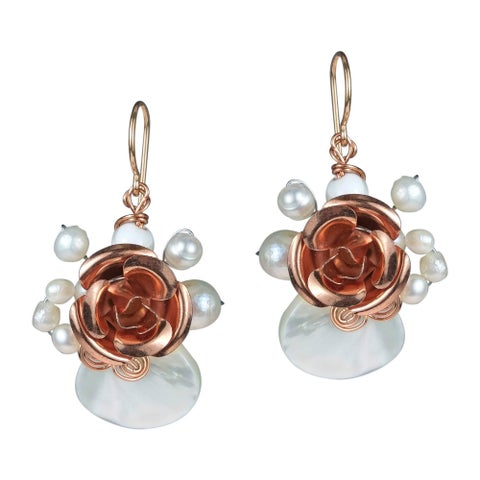 Handmade Copper Rose Mother of Pearl Dangle Earrings (Thailand)