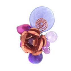 Handmade Purple Multi Stone Flower Cluster Ring (Thailand)